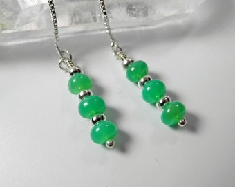 Green Chrysoprase Earrings, Chrysoprase Earring, Sterling Silver Thread Earrings, Chrysoprase Jewelry, Mystical Moon Designs