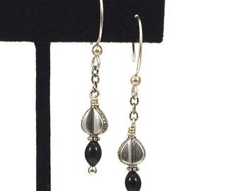 Silver Drop Earrings - Art Nouveau Silver Dangle - Thai Silver Beads - Hippie Dangle Earring - Vintage Glass Trade Beads - Black Drops