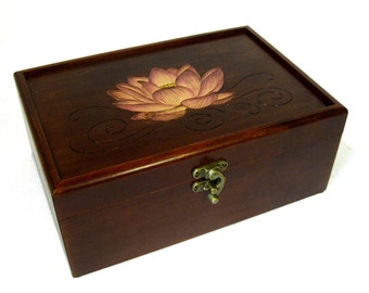 "Sacred Lotus Keepsake Box: American Maple Wooden Box, 9.5"" x 6.5"", Jewelry Box, Memory Box or Gift Box"