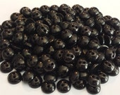 50 Black Shiny Shirt Buttons, size 9mm (3/8 inch) - matching set, pearlized rounded top bulk sewing buttons, great for plush animal eyes