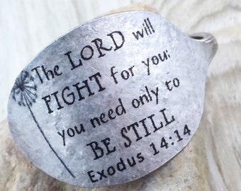 Exodus 14:14 Spoon Bracelet, The Lord Will Fight For You Scripture Bracelet, Gift for Friend, Mom, Sister, Daughter, Spoon Bracelet