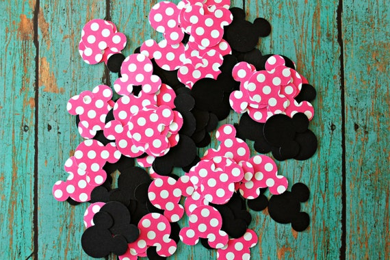 100 piece Minnie Mouse Confetti - Minnie Mouse Birthdays, Minnie, Table Decor, Minnie parties, black and pink Minnie