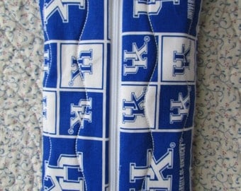 University of Kentucky Quilted Diaper Plus Wipes Case Travel Case Make-up Case with PUL lining