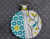 Round Zip Coin Purse for Earbuds or Change -- Blue Birds and Flowers (small)