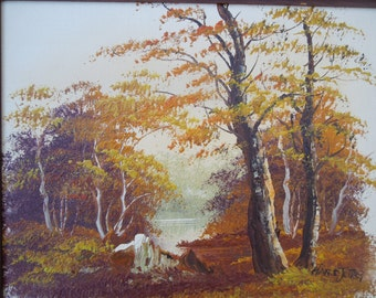 Vintage Oil on Canvas Landscape River Lake Pond Scene Oil Painting  Artist Jore