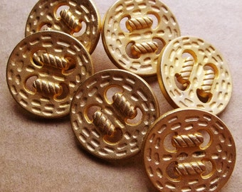 eco friendly gold tone metal shank buttons open work laced rope design--matching lot of 6
