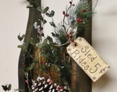Sled Wall Decoration, Primitive Holiday Wood Sleds, Winter Floral Arrangements