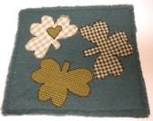 Candle Mat, Shamrock Applique Cloth, Country Table Decor, St. Patrick's Holiday Decor