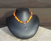 SALE !!!!!Adult Choker or Child size, Orange Beaded  Antler Necklace
