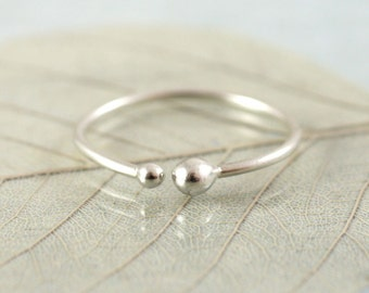 Silver Stacking Ring with Small and Tiny Ball Ends in Argentium Sterling