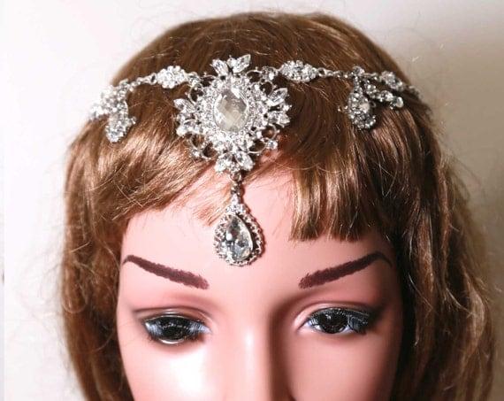 Silver Wedding Rhinestone Crystal Hair Chain,Bridal Tiara,Wedding draping hair chain pageant,Crystal Hair Chain,Hair Wrap,Silver Circlets