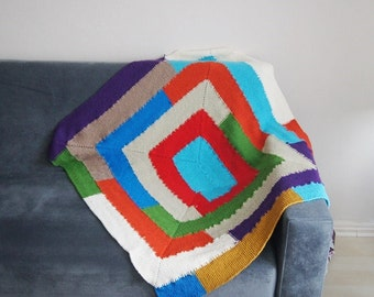 "Free ship BLANKET // 36"" x 44"" Geometric chevron blanket, Granny Square blanket, afghan, lap blanket,multicolor stripes, rainbow stripes,"