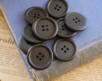 "Large 10 pcs Black Dark Wood Buttons 30mm 1 1/8"" (WB2293)"