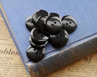 "SALE 20 pcs Black Dark Resin Buttons 23mm 1 1/8"" (WB2329)"