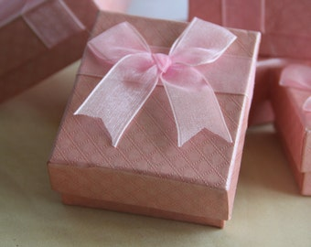 Set of 6, Fancy Pink Gift Box, Jewelry Box, Organsa bufferfly