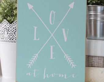 Love At Home 8x10 Sign-- with trendy arrows design!