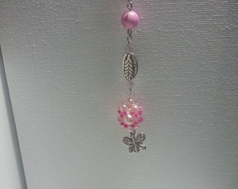 Metal bookmark with pink beads