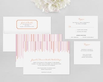 Wedding Invitation Modern Sample - Swanky Stripes - Wedding Invitation, Modern Wedding Invitation, Modern Wedding Invitations