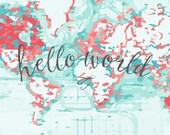 Hello World - Designer Custom Organic Baby Blanket   Baby Blanket   Swaddle Wrap   Toddler Blanket by JuteBaby