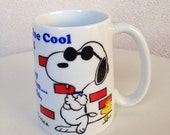 Vintage Snoopy Woodstock mug Joe  Cool Saturdays no Wheels Man 14 oz ceramic Japan