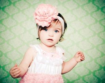 Baby Headband, Flower Headband, Pink Headband- Pink Silk Flower Baby Headband