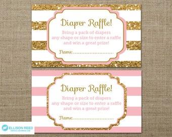 Gold Baby Shower Diaper Raffle Ticket Gold Glitter Baby