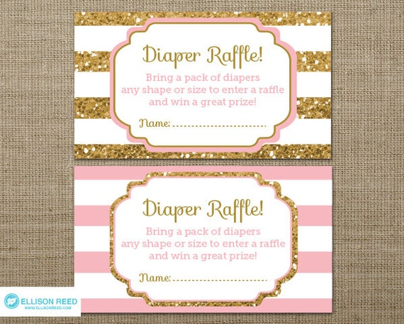 gold baby shower diaper raffle ticket gold glitter baby shower