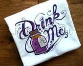 "Embroidered Alice in Wonderland ""Drink Me"" Potion T-shirt for Girls - Fairytale - Book - Theme - Party - Halloween - Birthday - Gift"
