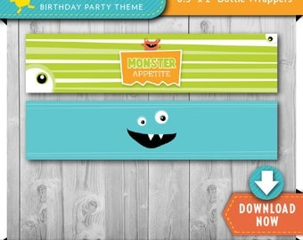 Monster Water Bottle Labels   Wrappers   Printable Birthday Party Decorations   Instant Download