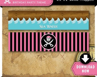 Pirate Pink Water Bottle Labels   Wrappers   Printable Birthday Party Decorations   Instant Download