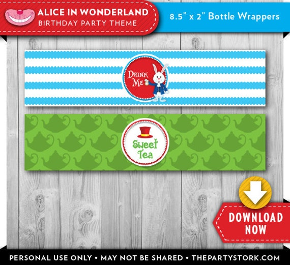 Alice In Wonderland Water: Alice In Wonderland Water Bottle Labels Wrappers Printable
