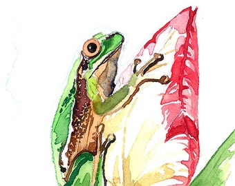 ACEO Limited Edition (1/25) of an Original watercolor painting - Frog with a tulip, Small gift idea for animal lovers, Home deco idea