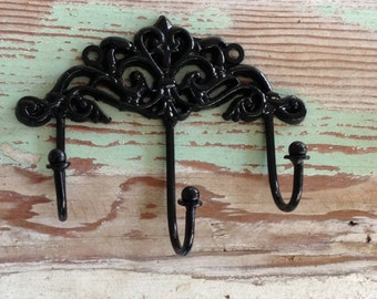 Decorative Wall Hook /  BLACK Shabby Chic Hook  / French Country Decor / Key Hook/Wall Hook /Black Wall Decor