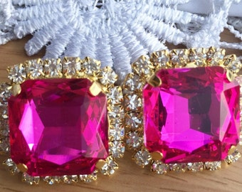 Fushia Pink  Swarovski crystal stud earrings - 18k gold plated post earrings real swarovski rhinestones