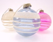 Paper Cap Unsilvered Striped Vintage Glass Christmas Holiday Ornaments WWII War Era Ornaments