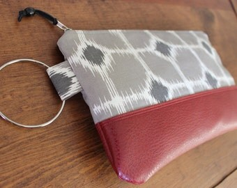 Large Wristlet Clutch Grey Ikat Geometric Print Canvas with Red Faux Leather