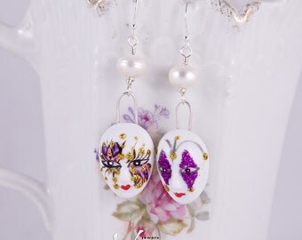 Venetian mask, precious porcelain silver earrings with unique miniature porcelain Venetian masks and white pearls, trendy, fashion earrings