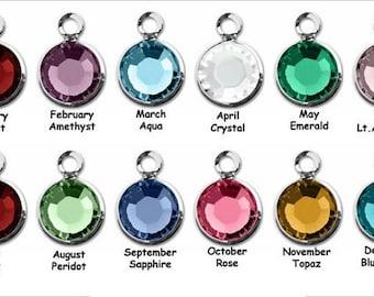 Add on - Birthstone - 6mm Crystal Silver Plated Swarovski Crystal Channel Charm - January to December
