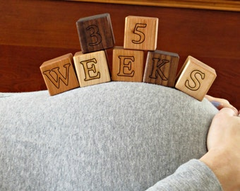Pregnancy Photo Prop Maternity Photo Prop Wooden Block Baby Announcement Pregnancy Reveal Weekly Pregnancy Gender Reveal Pregnancy Countdown