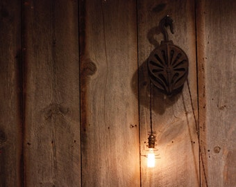 Rustic Industrial Pully Pendant