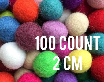 100 count - 2cm wool felted balls - assorted colors