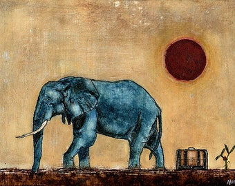 Art. Painting. Original Oil Painting. Blue Elephant. Red Sun. Your Silence