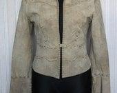 Vintage Suede Jacket Morgan Women Beige Natural Leather Hippie Boho
