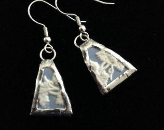 Blue Wedgewood Broken China Earrings