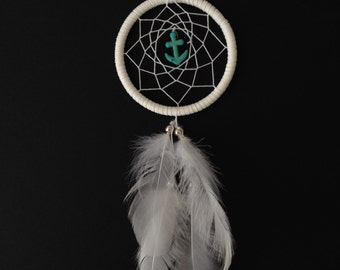 Dream Catcher - White Turquoise Anchor! Small Nautical dream catcher! Anchor dreamcatcher! turquoise and white dreamcatcher!