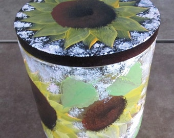 Sunflower Dish with lid hand painted
