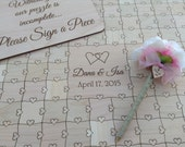 100-150 pcs Wedding Guest Book Heart Puzzle (Custom Puzzle w/ Heart Tabs)