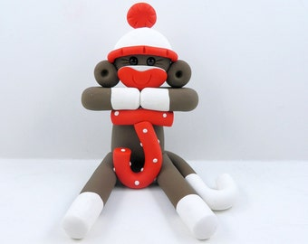 Sock Monkey Birthday Party Cake Topper Polymer Clay