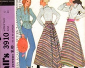 "1970s Women's Western Bloues and Skirt Pattern - Size 12, Bust 34"" - McCall's 3910"