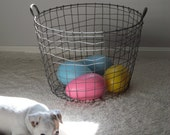 Large Vintage Wire Laundry Basket with Handles